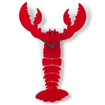 Tatty Devine Lobster Wall Clock, Red (H46 x W30 x D3.5cm)