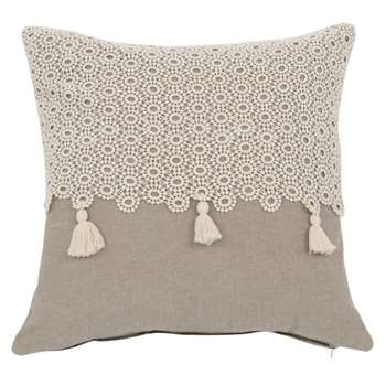 Taupe and White Cotton Cushion Cover (H40 x W40cm)