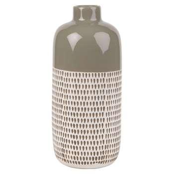 Taupe Ceramic Vase with Graphic Print (H30 x W13.5 x D13.5cm)