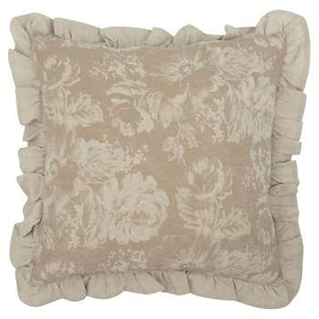 Taupe Cotton Cushion Cover with Floral Print (H40 x W40cm)