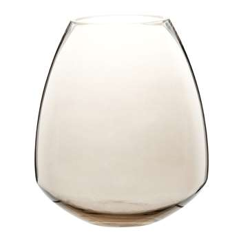 Taupe Tinted Glass Vase (H20 x W17 x D17cm)