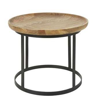 TAWA - Mango Wood and Black Metal Side Table (H44 x W53 x D53cm)