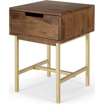 Tayma Bedside Table, Acacia  Wood & Brass (H57 x W40 x D40cm)