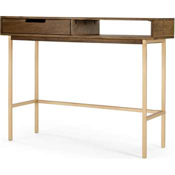 Tayma Console Table, Acacia and Brass (H77 x W90 x D35cm)