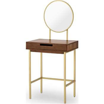 Tayma Dressing Table, Acacia Wood & Brass (H130 x W57 x D40cm)