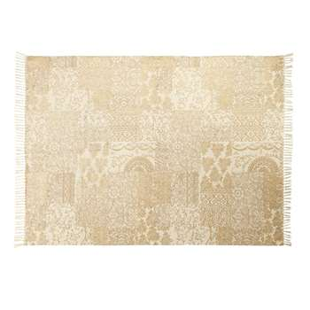 TAZA Ecru and Gold Cotton Rug with Print (H140 x W200 x D1cm)