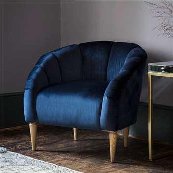 Teal Velvet Tulip Chair (H79 x W75 x D45cm)