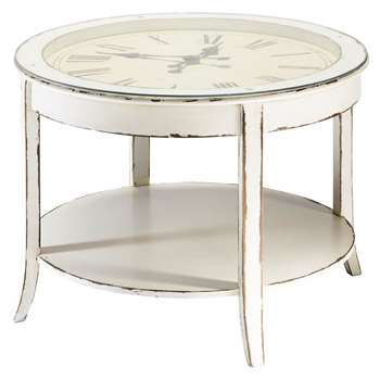 TEATIME Glass and wood round clock coffee table in white with distressed finish (50 x 72cm)