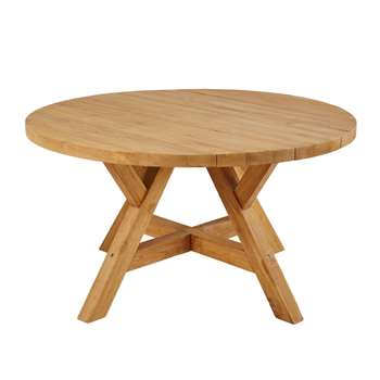 TECKA Round 6-Seater Recycled Teak Garden Table (H76 x W140 x D140cm)