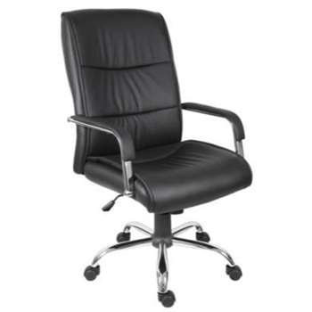 Teknik Office Kendal Exective Black Leather Chair 50-58 X 52cm
