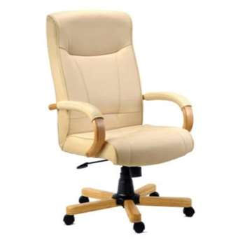 Teknik Office Knighton Leather Faced Executive Chair in Light Oak, 46-55 x 51cm