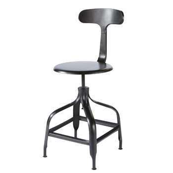 TELEGRAPHE Black Metal Industrial Bar Chair (H101 x W42 x D51cm)