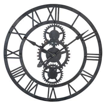 TEMPS MODERNES metal clock in black (76cm Diameter)