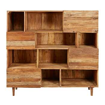 TENNESSEE Recycled wood 4-door bookcase (150 x 160cm)