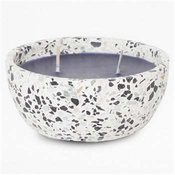 Terazzo Candle 2 Wick - Black And White (H5 x W12 x D12cm)