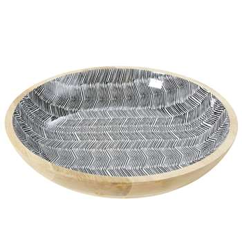 TERRITOIRE Solid Mango Wood Trinket Bowl with Graphic Print (H10 x W44.5 x D44.5cm)