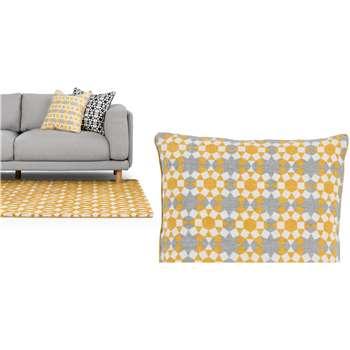 Tesserae 100% Linen Cushion, Ash Grey and Gold (50 x 50cm)