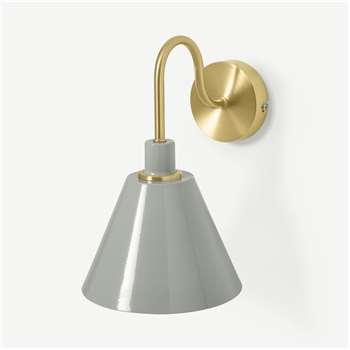 Testa Bathroom Wall Lamp, Brushed Brass & Charcoal Grey (H29 x W19 x D25cm)