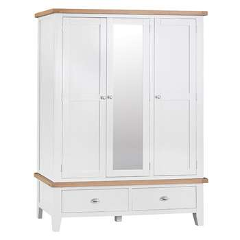 Tetbury Painted Oak 3 Door Wardrobe (H195 x W145 x D56cm)