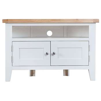 Tetbury Painted Oak Corner TV Unit (H65 x W100 x D50cm)