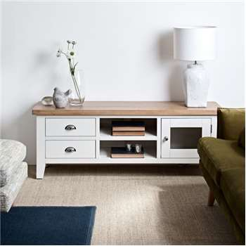 Tetbury Painted Oak Large TV Unit (H55 x W150 x D40cm)