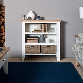 Tetbury Painted Oak Small Wide Bookcase (H90 x W90 x D30cm)
