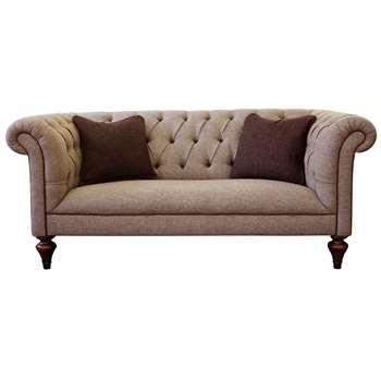 Tetrad Gleneagles Medium 2 Seater Sofa, Harris Tweed Heather with Brompton Tan Piping (H74 x W178 x D97cm)