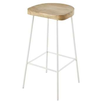 Texas - White Metal and Solid Mango Wood Bar Stool (H75 x W40 x D40cm)