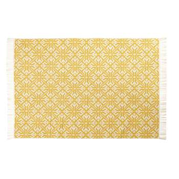 THALIE - Woven Cotton Jacquard Rug with Yellow and Ecru Graphic Print (H140 x W200 x D2cm)