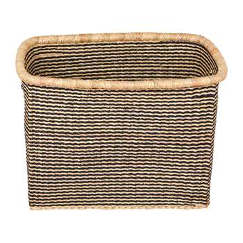 The Basket Room - Akosu Rectangle Hand Woven Storage Baskets - Black Stripes - L (H26 x W38 x D26cm)