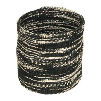 The Basket Room - Cloud Mkaa Hand Woven Basket - Black - M (H23 x W23 x D23cm)