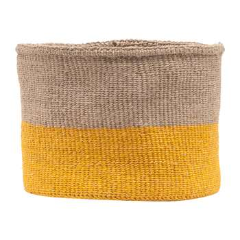 The Basket Room - Ghafla Colour Block Hand Woven Basket - Grey/Yellow - M (H25 x W20 x D20cm)