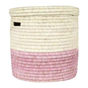 The Basket Room - Hapa Hand Woven Colour Block Laundry/Storage Basket - Dusty Pink - M (H45 x W45cm)
