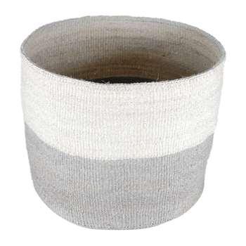 The Basket Room - Itale Grey Colour Block Hand Woven Basket - XL (H38 x W30 x D30cm)