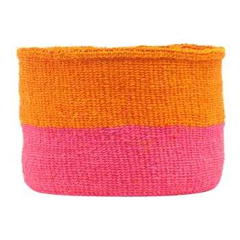 The Basket Room - Kali Colour Block Hand Woven Basket - Orange/Bright Pink - M (H25 x W20 x D20cm)
