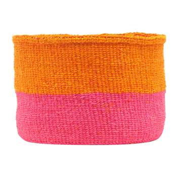 The Basket Room - Kali Colour Block Hand Woven Basket - Orange/Bright Pink - S (H20 x W15 x D15cm)
