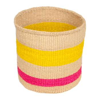 The Basket Room - Linear Fusion Mazao Hand Woven Basket - Pink/Yellow Stripe - S (H13 x W13 x D13cm)