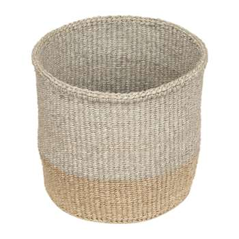 The Basket Room - Linear Fusion Mbili Hand Woven Basket - Grey/Brown - S (H13 x W13 x D13cm)