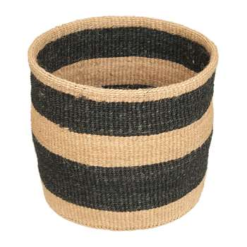 The Basket Room - Linear Fusion Mchoro Hand Woven Basket - Black Stripe - M (H23 x W23 x D23cm)