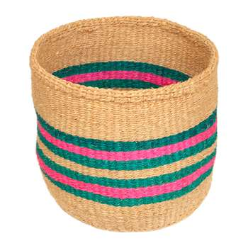 The Basket Room - Linear Fusion Ndoto Hand Woven Basket - Pink/Turquoise - L (H33 x W33 x D33cm)