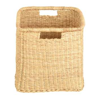 The Basket Room - Mraba Square Hand Woven Storage Basket - Natural - M (H30 x W30 x D30cm)