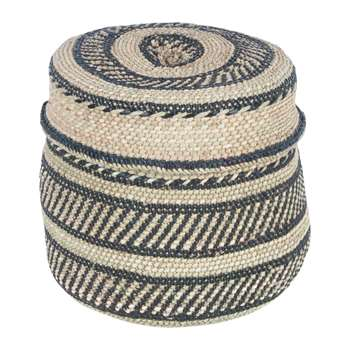 The Basket Room - Nyumba Pattern Lidded Hand Woven Basket - M (H20 x W25 x D25cm)