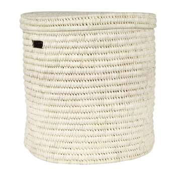 The Basket Room - Pale Hand Woven Laundry/Storage Basket - Natural - M (H45 x W45cm)
