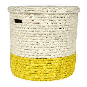 The Basket Room - Vipi Hand Woven Colour Block Laundry/Storage Basket - Yellow - M (H45 x W45cm)