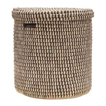 The Basket Room - Yule Hand Woven Check Laundry/Storage Basket - Black - M (H45 x W45cm)