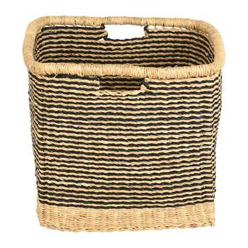 The Basket Room - Zangira Square Hand Woven Storage Basket - Black Stripes - L (H32 x W32 x D32cm)
