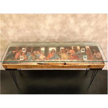 Cappa E Spada - The Last Supper Console Table with Glass Top (H68.6 x W152.4 x D40.6cm)
