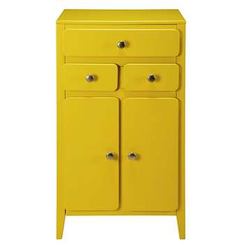 THELMA Mustard yellow 2-door 3-drawer entryway unit (H100 x W58 x D38cm)
