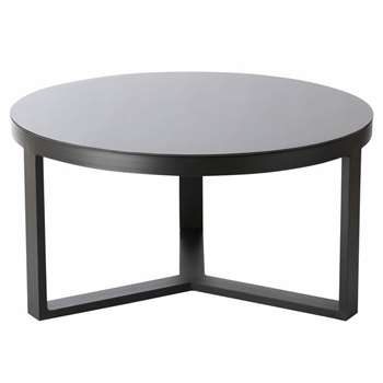 THETIS Aluminium and Black Tempered Glass Round Garden Coffee Table (H42 x W80 x D80cm)