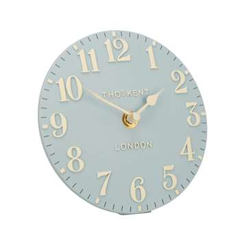 Thomas Kent Arabic Duck Egg Mantel Clock (H15 x W15 x D5cm)